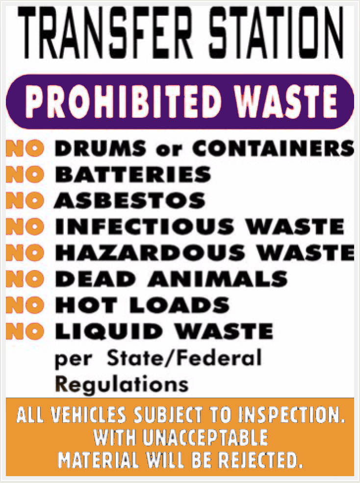 Transfer Station Prohibited Items